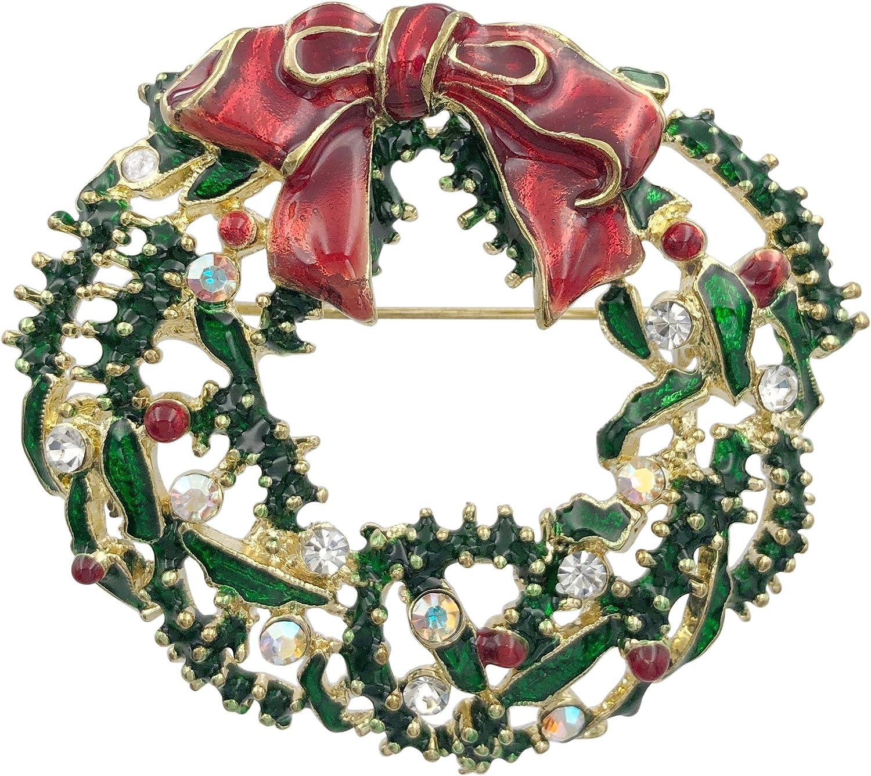 Gypsy Jewels Christmas Theme Multi Colored Fun Statement Painted Enamel Rhinestone Pin Brooch