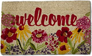 "Tag Fresh Flowers Coir Doormat Indoor Outdoor Welcome Mat 1'6"" x 2'6"" Multicolored"