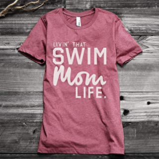 dadf84e7 Thread Tank Livin' That Swim Mom Life Women's Fashion Relaxed T-Shirt Tee  Heather