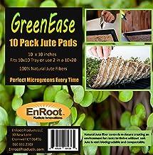 GreenEase Jute Microgreen Hydroponic Grow Pads - 10 Pack- Fits 10x10 Standard Nursery Tray. Grow Nutritious Organic Microgreens, Wheat Grass, Plant & Seed Germination. Certified for Organic Use.