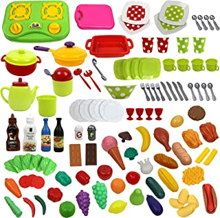 IQ Toys Deluxe 114 Piece Play Dishes & Play Food Set in a Storage Container