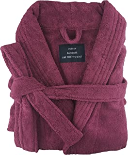 Egyptian Cotton Terry Toweling Bathrobe Bride&Bridesmaid Robe (Burgundy)