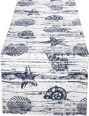 Captiva Island Fennco Styles Collection Nautical Seashell Wood Grain 100% Pure Cotton 14 x 72 Inch Table Runner – Indigo Tabl