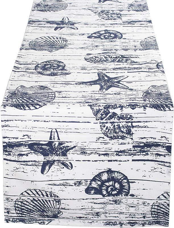 Captiva Island Nautical Table Runner 14 X72 Rectangular 100 Cotton Indigo And White Colors One Piece