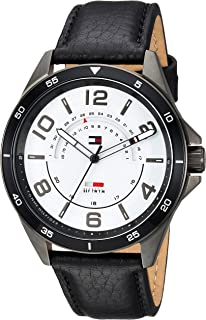 Tommy Hilfiger Men's CASUAL SPORT Stainless Steel Quartz Watch with Leather Strap, Black, 22 (Model: 1791396)