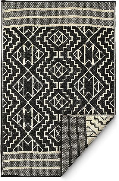 Fab Habitat Reversible Rugs Indoor Or Outdoor Use Stain Resistant Easy To Clean Weather Resistant Floor Mats Kilimanjaro Black 6 X 9