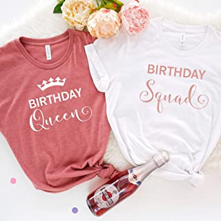 Birthday squad and queen t-shirt / 30th, 40th, 50th, 60th, 70th, 80th, 90th, 100th party girl and squad tshirt