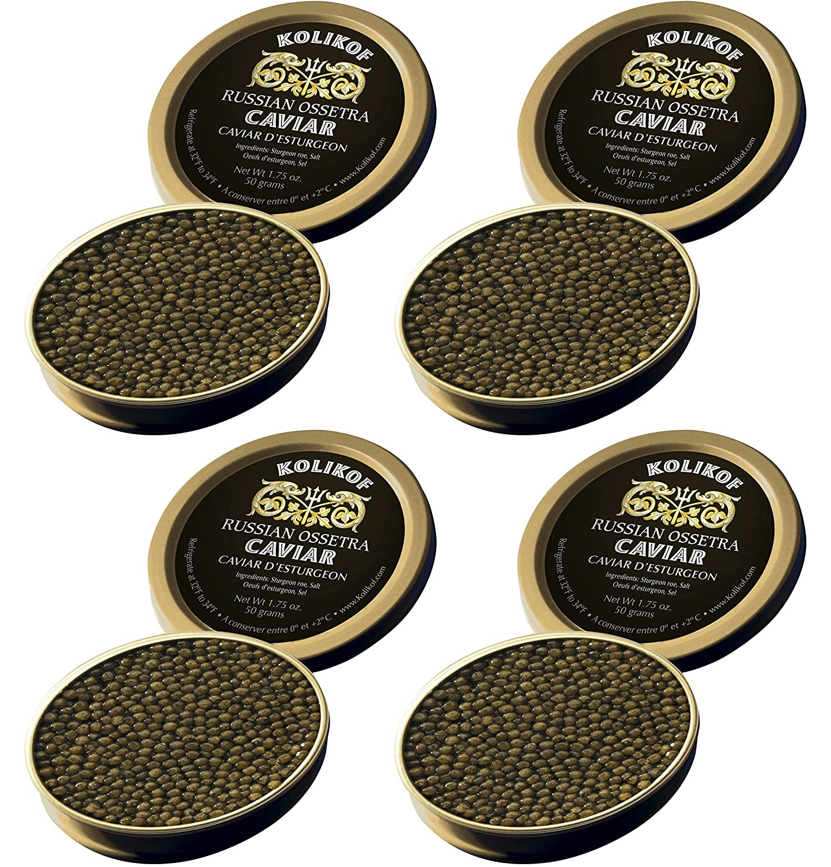 Kolikof Russian Ossetra Fashionable Caviar - 4 50g Total oz. 7 Wt. Super beauty product restock quality top 200g