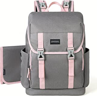 mommore Diaper Bag Backpack Large Capacity Baby Nappy Bags with Changing Pad for Mom/Daddy, Pink