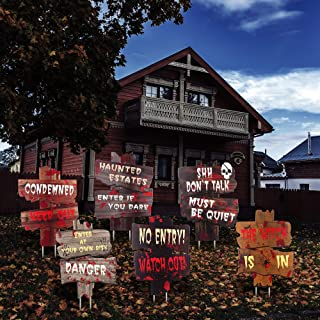 FiGoal 6 Pack Halloween Yard Signs NO Entry Halloween Corrugated Yard Stake Signs Outdoor Props Decorations with Stakes fo...