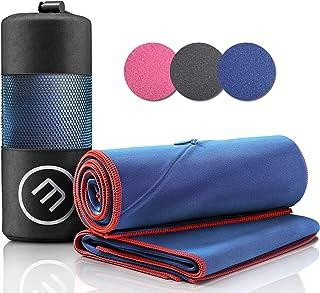 comprar comparacion Juego de Toallas de Microfibra + Funda de Transporte | Set de 2 Azules: Grande para baño, pequeño para Cuerpo y Cara | Ult...