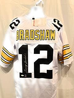 Terry Bradshaw Pittsburgh Steelers Signed Autograph Custom Jersey White Bradshaw Holo JSA Witnessed Certified