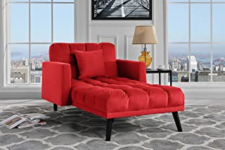 Sofamania Modern Velvet Fabric Recliner Sleeper Chaise Lounge - Futon Sleeper Single Seater with Nailhead Trim (Red)