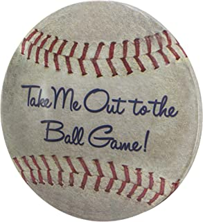 Take Me Out to The Ball Game Dome Shaped Metal Baseball Sign Wall Decor for Bar, Garage or Man Cave (15