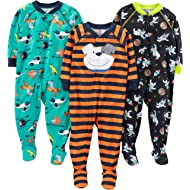 Baby and Toddler Boys' 3-Pack Loose Fit Polyester Jersey Footed Pajamas