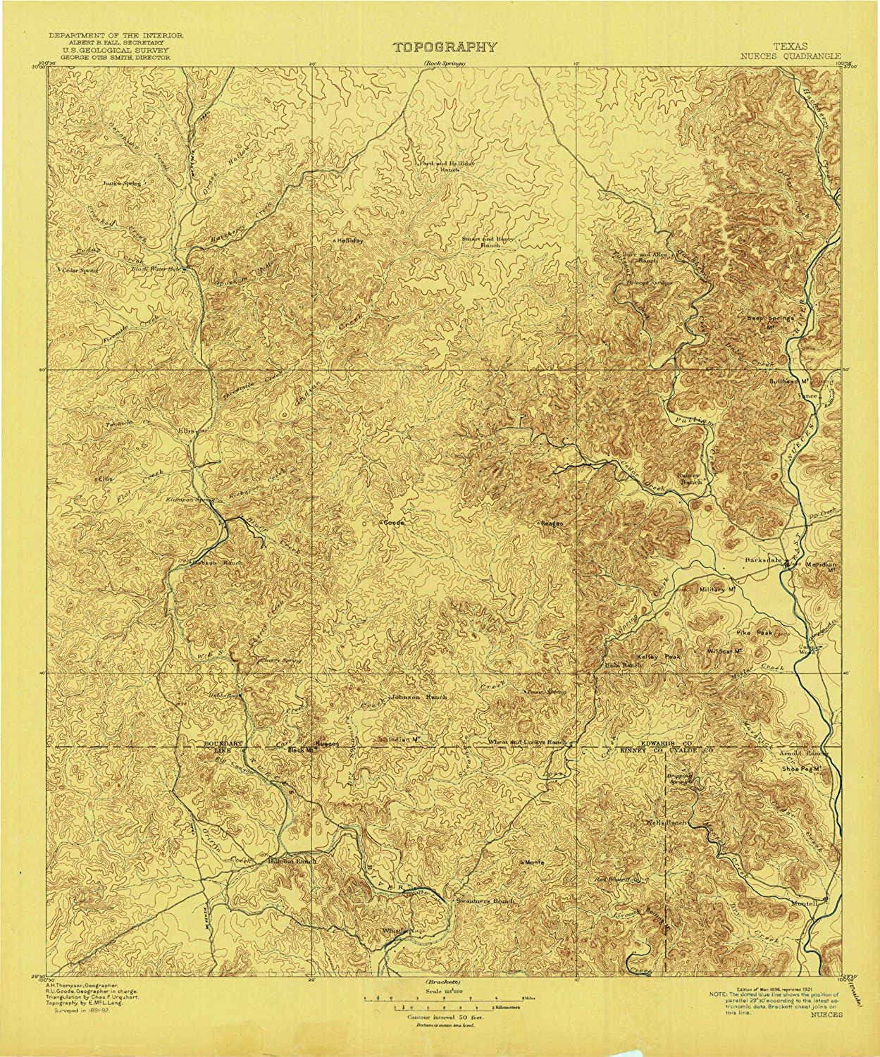 Nueces TX topo map, 1 125000 Scale, 30 X 30 Minute, Historical, 1896, Updated 1921, 20.3 x 16.9 in