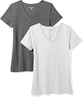 Amazon Essentials Women's 2-Pack Short-Sleeve V-Neck T-Shirt