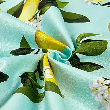 Telio Bloom Stretch Cotton Sateen Lemon Mint MINT/LEMON, Fabric by the Yard