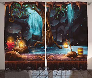 Ambesonne Fantasy Curtains, Enchanted Forest with Cave Waterfall and Magic Tree Barrel Colorful Elf Image, Living Room Bedroom Window Drapes 2 Panel Set, 108 W X 84 L Inches, Brown and Blue