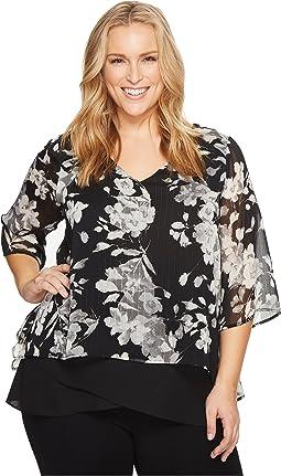 Karen Kane Plus - Plus Size Overlay Asymmetric Top