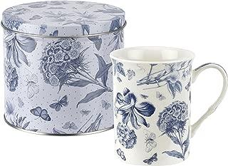 Botanic Blue Mug and Tin Set, Porcelain, Blue and White, 13 x 13 x 11.5 cm