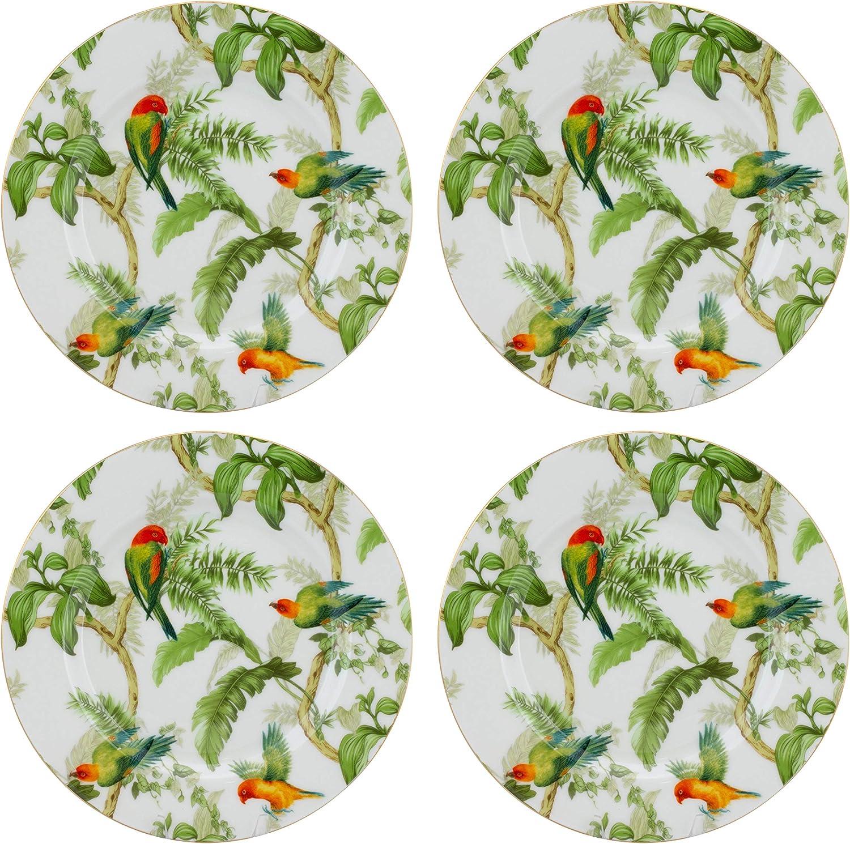 Gracie China New life Rainforest Birds Porcelain 7.5-Inch Direct store Set Salad Plate