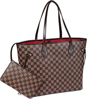 Checkered Tote Shoulder Bag with inner pouch - PU Vegan Leather