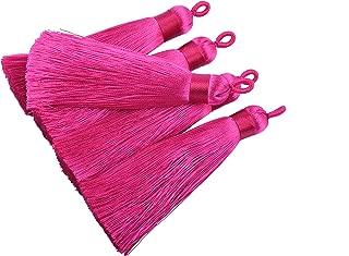 KONMAY 10pcs 3.4''(8.5cm) Handmade Imitation Silk Tassels with Hanging Loop for Jewelry Making (Rose)