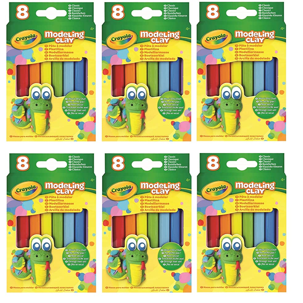 Crayola Modeling Clay (8 Per Pack), 0.6 Ounces Basic, 6 Pack