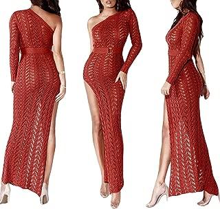 YSJERA Women's Sexy Hollow Out One Shoulder Side Split Bodycon Semi Sheer Knit Maxi Dress