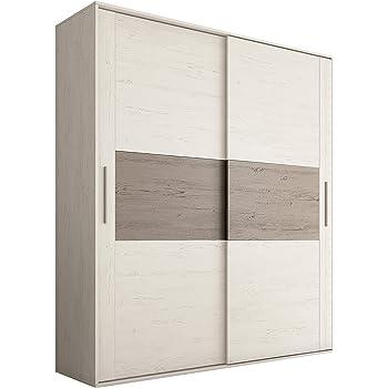 HomeSouth - Armario 2 Puertas Correderas para Dormitorio y Habitación, Modelo Priego Acabado en Color Andersen Pino y Gris, Medidas: 180 cm (Largo) x 207,6 cm (Alto) x 55 cm (Fondo): Amazon.es: Hogar