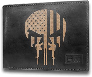 American Infidel US Flag Guns AK 47 Skull Cowhide Leather Laser Engraved Engraving Slimfold Mens Black Large Capacity Luxury Wallet Purse Minimalist Slim Credit Card Holder Organizer 14 Pockets