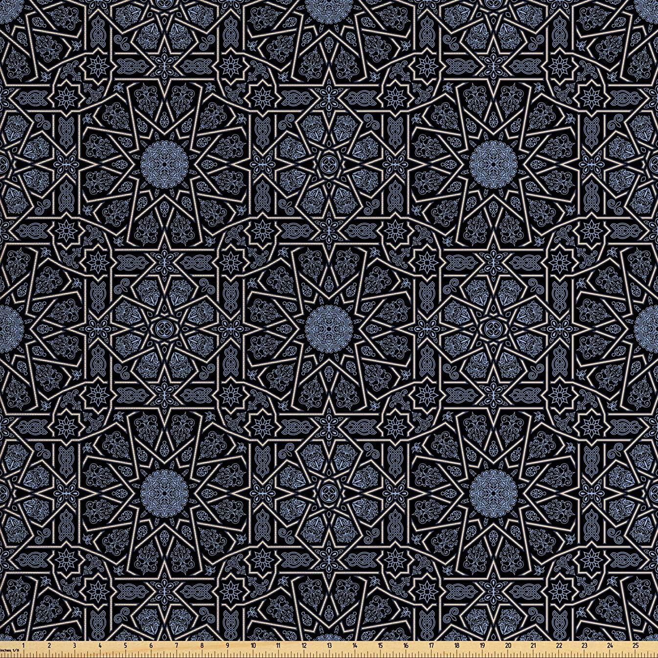 Ambesonne Moroccan Fabric by The Yard, Geometric Design with Old Rich Royal Elements and Moroccan Star Dark Ancient, Decorative Fabric for Upholstery and Home Accents, 2 Yards, Black Cream Blue
