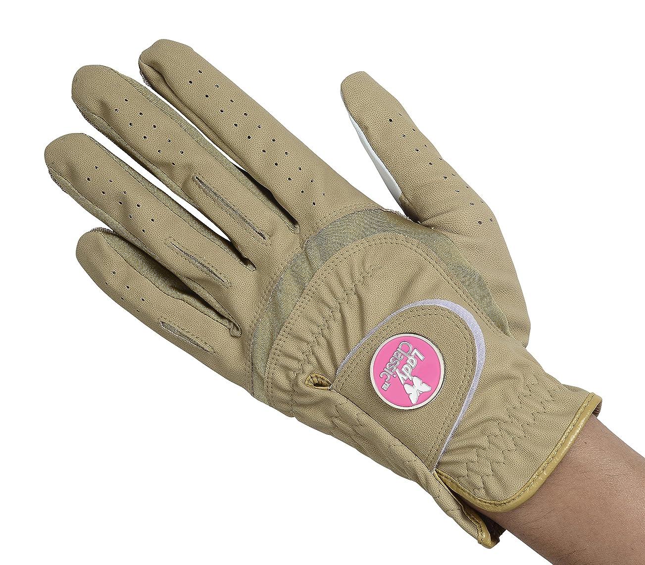 レシピ保安大工レディークラシックレディースソフトフレックス手袋、磁気ボールマーカー、右手、ベージュ、ミディアム