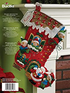 86897E Santa and Reindeer Bucilla 28-inch Jumbo Christmas Stocking Felt Applique Kit