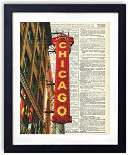 Chicago Theatre Sign Upcycled Vintage Dictionary Art Print 8x10