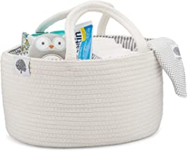 Parker Baby Rope Diaper Caddy Organizer - Nursery Storage Bin and Car Organizer for Diapers and Baby Wipes - Diaper Organizer for Baby Essentials - White