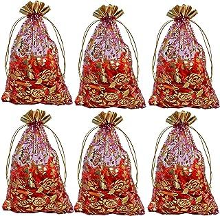 Evisha Net Zari Potli Pouch Bag (Multicolour, 23x16 Cm) - 20 Pieces