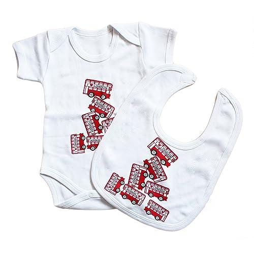 46b088e8204900 100% Cotton Union Jack Souvenir London Bus Baby Bodysuit and Bib Apron Grow  Gift Nontoxic