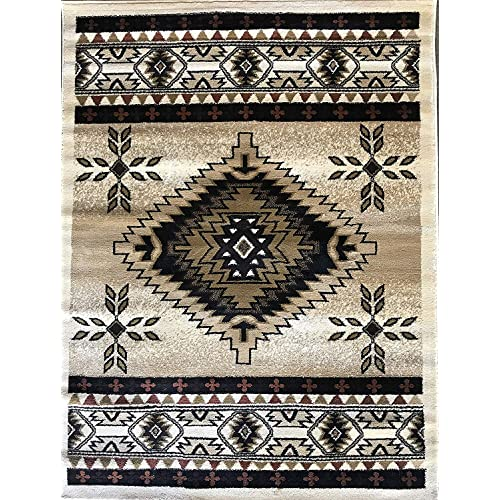 3bddaa7c1b37 Bellagio Southwest Native American Tribal 256,000 Point Area Rug Ivory  Brown Rust Beige Tan Design T9641