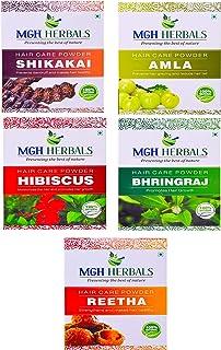 MGH Herbals MGH Herbals 100% Natural Organic Amla, Reetha, Shikakai, Bhringraj, Hibiscus Powder for Hair Care Combo Set Each 100Gms