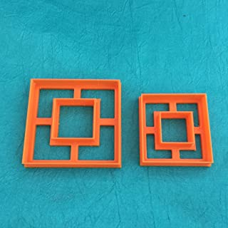 Square with Center Cut Out Jewelry Sized Set of 2 Graduated Cutters for Polymer Clay and Mixed Media