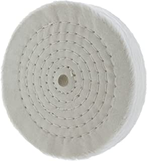 """Drixet Rigid 6 Inch Extra Thick Cotton Treated Spiral Sewn Buffing/Polishing Wheel with a 1/2"""" Center Arbor Hole, (80 Ply)"""