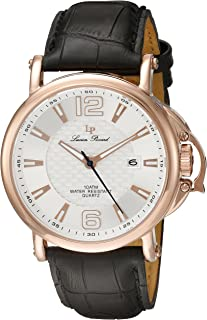 Lucien Piccard Men's 'Triomf' Quartz Stainless Steel and Black Leather Casual Watch (Model: LP-40018-RG-02S)