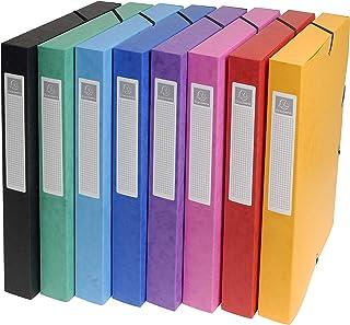 Exacompta 50300E - Boîtes archives avec élastiques 25mm - Couleur Aléatoire - lot de 8
