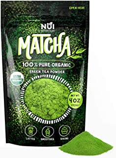 NUI Organic Matcha Green Tea Powder- 100% Pure Matcha for Latte, Smoothies and Baking - Premium Natural Energy & Focus Boo...