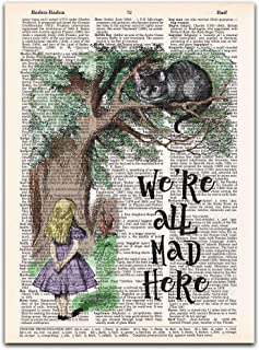 We're All Mad, Alice in Wonderland Vintage Dictionary Page Wall Art