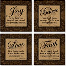Love Faith Joy Believe Religious Bible Prints by Todd Williams; 4-12x12