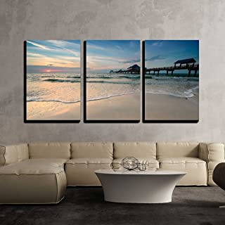 wall26 - 3 Piece Canvas Wall Art - Sunset Near Pier 60 on a Clearwater Beach, Florida, USA - Modern Home Decor Stretched and Framed Ready to Hang - 24