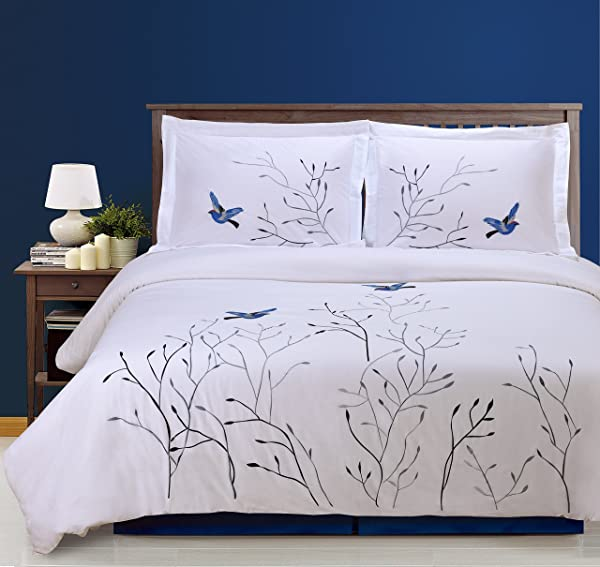 Superior 100 Cotton Percale Embroidered 3 Piece Duvet Cover Set King California King Blue Swallow